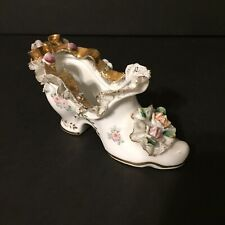 Vintage White Floral Gold Trim Lace High Heel Shoe Made In Japan