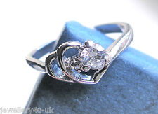 Statement Friendship Engagement Silver Plated Double Heart Shiny Zircon Crystal