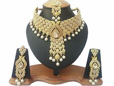 Gold Plated Bridal Kundan Zerconic Bollywood Necklace Set Earring Tika Jewelry