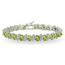 Sterling Silver Peridot & White Topaz 6x4mm Oval and S Tennis Bracelet