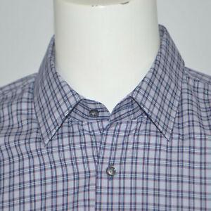 NWT HUGO BOSS C-Menzo Regular Fit Navy Plaid Cotton Dress Shirt Sz 17 32/33