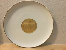 VINTAGE KPM PORCELAIN PLATE BISQUE WHITE 24kt Gold ~ BERLIN RELIEF DESIGN 10 3/8