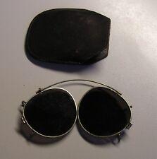 lunettes de soleil pliantes à clipser,métal verre étui cuir 1960,glasses vintage