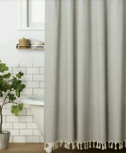 Hearth & Hand Magnolia Gray Railroad Stripe Shower Curtain Knotted Fringe Nwot