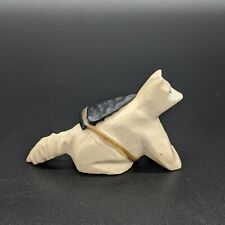 Vintage Zuni Carved Stone Fox Fetish With Arrowhead Bundle And Turquoise Eyes
