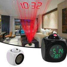 Alarm Clock Time Temperature Projector LED Digital Projection Voice Talking F2J9