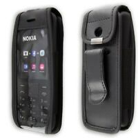 caseroxx Leather-Case with belt clip for Nokia 215 Dual Sim in black made of gen