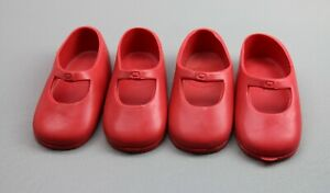 Ideal Doll Red Shoes Mary Jane Rubber Vintage 7M-5347-02 for Shirley Temple LOT