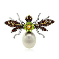 925 Sterling Silver Black & Gold Plated Simulated Shell Pearl Wasp Brooch