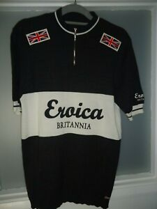 Cycling jersey, vintage style Eroica Britannia xxl plus cap, 50% Marino wool