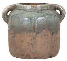 "Rustic Primitive Blue Stone Clay Ceramic Pot Vase 2 Handles Weathered Finish 6""H"