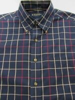 Brooks Brothers 1818 No Iron Blue Check Button Down Shirt 100% Cotton Size S