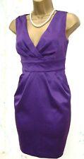 Size 10 Pencil Wiggle Galaxy Dita Pleats Cocktail Party Purple Dress US 6 EU 38