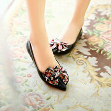 Womens Floral Pointed Toe Casual Flats Pumps Slip On Wrok Party Loafers Shoes Sz