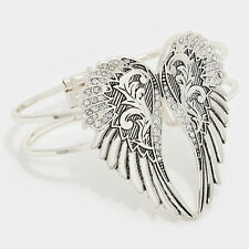 Angel Wings Bracelet Hing Bangle Pave Rhinestones BRUS SILVER Faith Love Jewelry