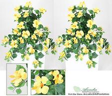 "Two 29"" Hanging Hibiscus Artificial Flower Silk Plant Fake Bush Yellow"