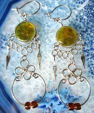 Boucles D'oreilles Alpaga Argent ambre couleurs Perles De Verre Indien Inca Maya
