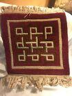 Vintage Nepal HAND KNOTTED ART WOOL Tibet Look ORIENTAL AREA Prayer RUG Burgundy