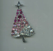 LIA PRETTY IN PINK CHRISTMAS TREE PIN silver