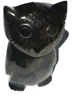 """OWL Stone DARK serpentine Hand Carved Inuit Eskimo style 3.5"""" Tall New UNSIGNED."""