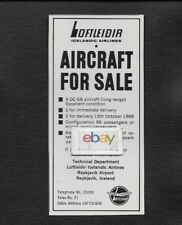 ICELANDIC LOFTLEDIR ICELAND AIRLINES DC-6B FOR SALE 4 AIRCRAFT 86 PAX 1968 AD