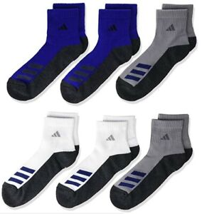 adidas Cushioned Angle Stripe Quarter Socks 6 Pairs Kids'