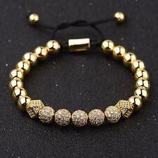 New Luxury Micro Pave CZ Ball Crown Charm Bracelet Men's Copper Bead Bracelets