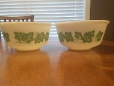 "Set of 2 VINTAGE ANCHOR HOCKING IVY GREEN LEAVES MIXING BOWL 6""  IN MILK GLASS"