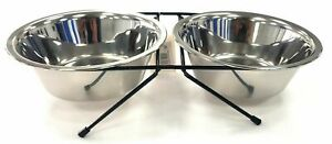 Stainless Steel Double Diner Pet Dog Bowls Raised Height Stand Feeding Station
