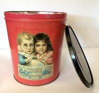 Vintage Pink Tin Bucket Planter Hood's Sarsaparilla Calendar 1893 Children Globe