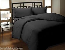 POLYCOTTON BLACK COLOUR DUVET QUILT COVER WITH PILLOW CASES BEDDING SET LL SIZES