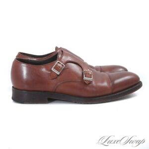 Sid Mashburn Made in England Bourbon Saddle Brown Leather Double Monk Shoes 7 UK
