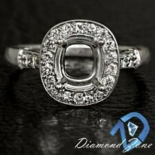 CUSHION SEMI MOUNT DIAMOND 1/3CT HALO VINTAGE OMC SEMI MOUNT SETTING RING 14K WG