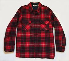 VTG Woolrich red buffalo plaid check wool flannel buttons down shirt jacket XL