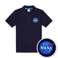 Men's Cotton Polo Shirt T-shirt NASA Retro Logo Embroidery Black Navy Blue New