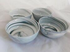 Set de 4 porcelaine blanche Noir Mat MDF Plateau Ovale Snack Bols