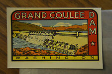 ORIGINAL VINTAGE TRAVEL DECAL GRAND COULEE DAM WASHINGTON AUTO HOT ROD WAGON RV
