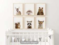 Set of 6 Nursery Woodland Animal Wall Art Nursery Prints A5