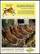 1962 Diamond Brand Peters Leather Boots Shoes Outdoor Steer  Vintage Print Ad