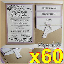 60 X KRAFT WEDDING POCKET INVITATIONS DIY POCKETFOLD ENVELOPES BROWN INVITE
