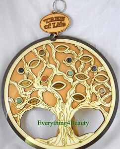 NEW Tree of Life Wood Carved Wall Art Wall Hanging charm stones PLAQUE 2 layers