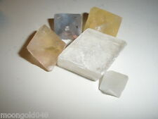 LOT OF 5 CLEAR QUARTZ CALCITE CUBE ANGEL HAIRS AND INCLUSIONS AND TRIANGLES