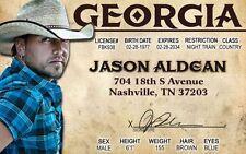 Jason Aldean Georgia I.D card Drivers License Nashville Country Music Star
