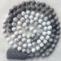 Jasper and Howlite 108 Beads Mala Knotted Meditation Buddhist Prayer Necklace