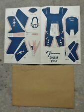 Rare Grumman Aircraft Cougar F9F-6 Paper Airplane Model Kit w/Orig Envelope 1951