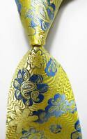 New Classic Floral Yellow Blue JACQUARD WOVEN 100% Silk Men's Tie Necktie