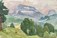 Acquerello Impressionista Hochkalter Ramsau Berchtesgaden Luce Sera Alpi Firmato