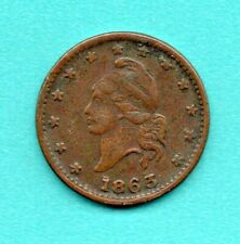 "1863 Civil War Copper Token - Liberty Head, ""Army & Navy"", Vf-Xf"