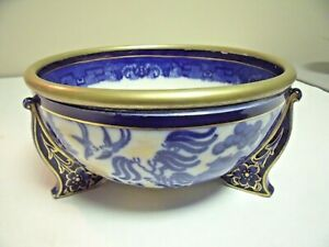 Unmarked Royal Doulton Lustre Blue Willow Footed Bowl with Metal Rim