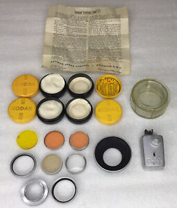 Vintage Kodak Lens Filter And Adapter Collection, With Cases, And Auto-Release